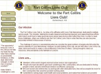 Old Fort Collins Lions Club Website Screenshot