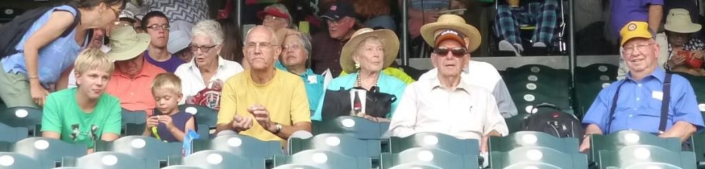 Wayne and grandsons, Luetta, Harold - Rockies game