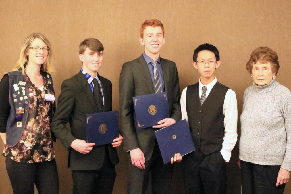 Lion President Melody Bettenhausen, Jackson Littlewood (3rd), Bernard Lacey, (1st), Xutao Ho (2nd) and Lion Irene Toliver, Speech Contest Chair.