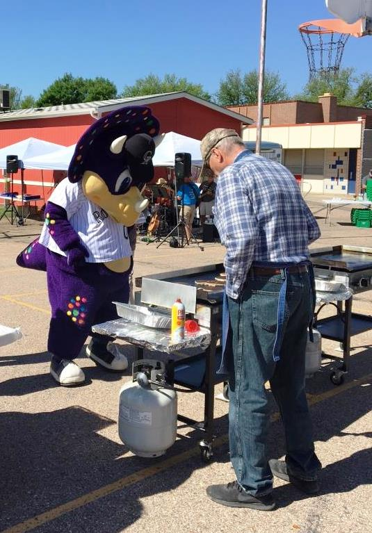Rockies mascot, Digger, stopped to check out the breakfast!